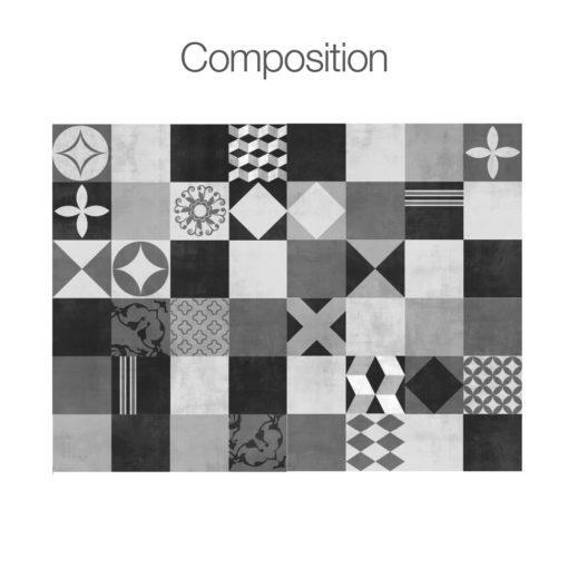 Geometric Graphite Tiles Stickers - Composition