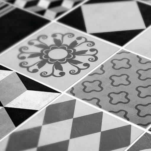 Geometric Graphite Tiles Stickers - Detail