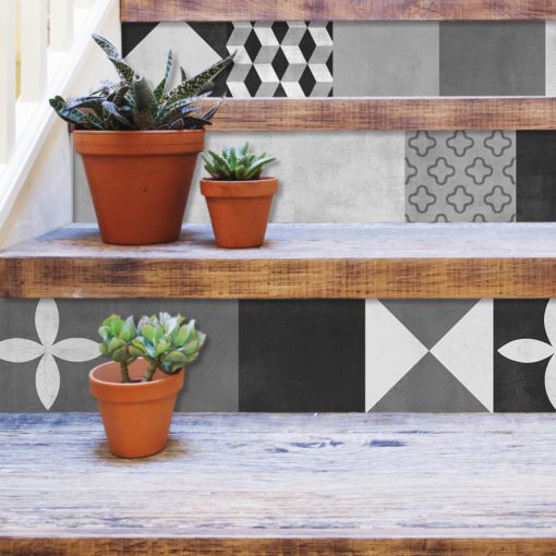 Geometric Graphite Tiles Stickers - Stairs