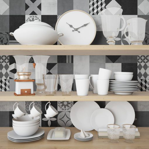 Geometric Graphite Tiles Stickers - Wall 1