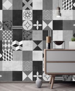 Geometric Graphite Tiles Stickers - Wall