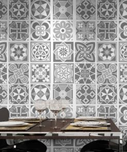 Grey Scale Floor Tile Decals - Wall