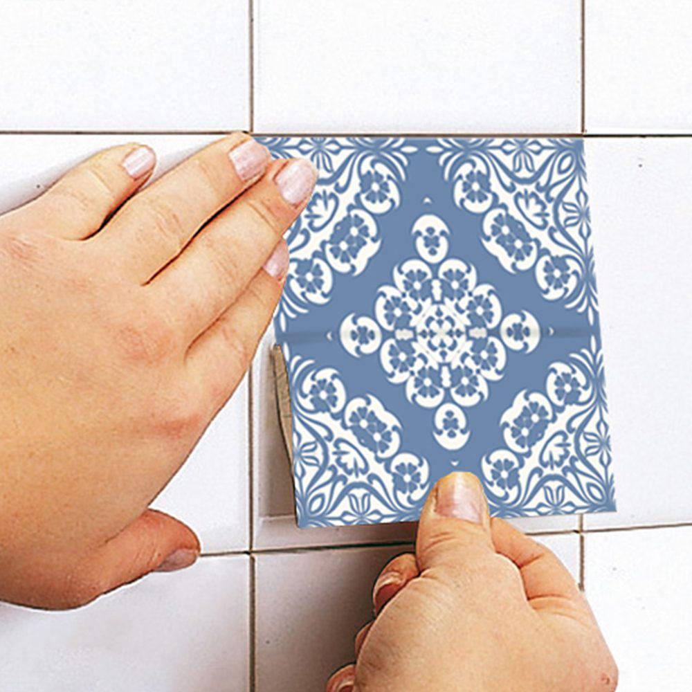 Fliesen für Küche Pastell Blau Wandtattoo