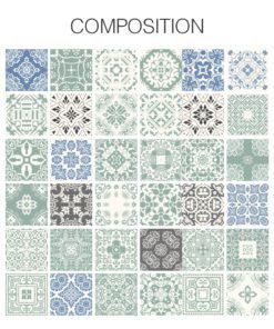 Pastel Blue Tiles Stickers - Composition
