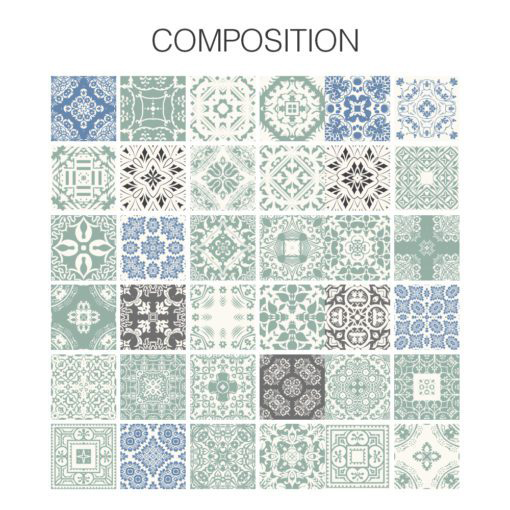 Pastel Blue Tiles Stickers - Composition