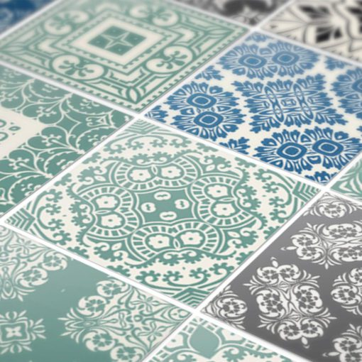 Pastel Blue Tiles Stickers - Detail
