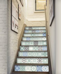 Pastel Blue Tiles Stickers - Stairs
