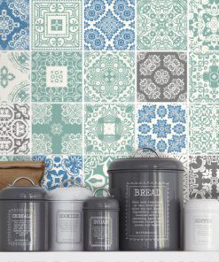Pastel Blue Tiles Stickers - Wall