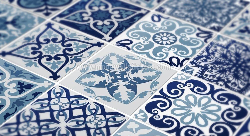 Blue portuguese tiles - Stickers salle de bain carrelage ...
