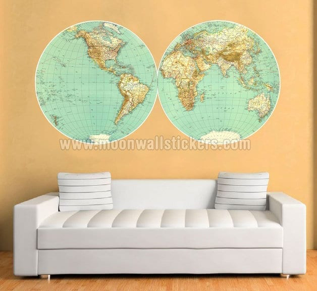 Retro vintage world map sticker moonwallstickers retro vintage map sticker gumiabroncs Choice Image