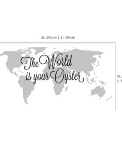 The World is Your Oyster World Map Sticker - Dimensions