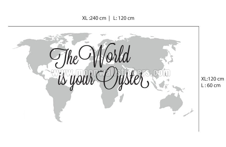 Amazing The World Is Your Oyster World Map Sticker Dimensions Part 28