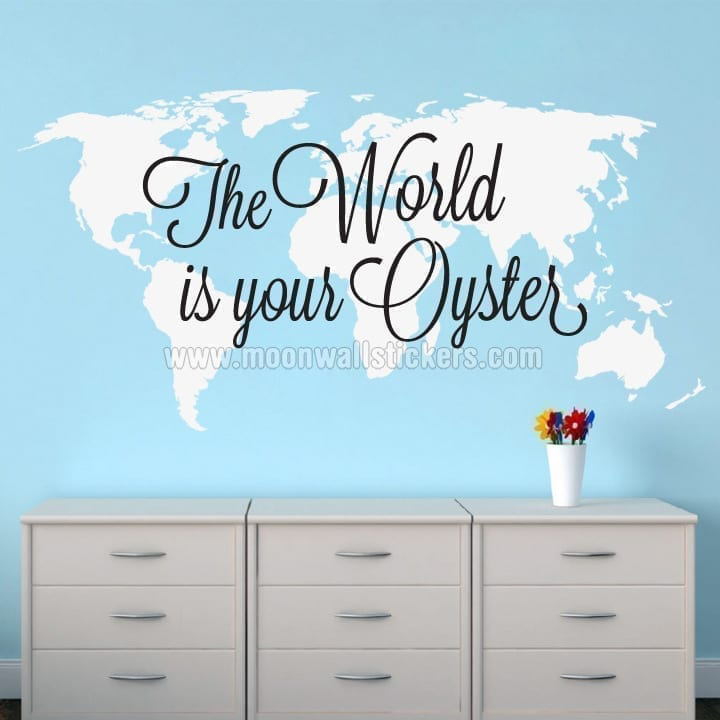World map stickers the world is your oyster world map sticker gumiabroncs Images