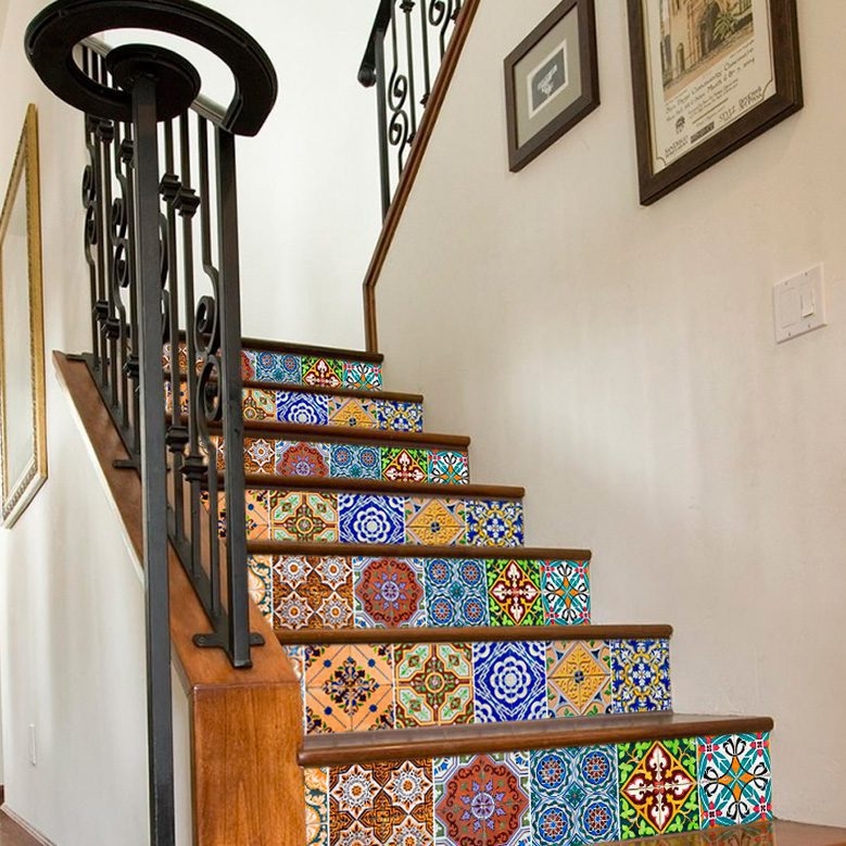 Wandtattoo Treppe mit Portugiesisch Fliesen Muster (Pack N1 mit 12)