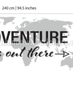 Adventure is Out There World Map Decal Dimensions