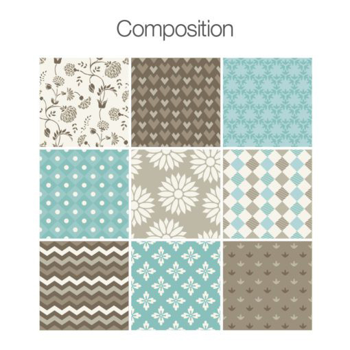Brown Blue Patchwork Stickers - Composition