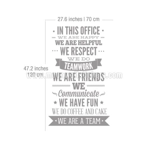 In This Office Typography Sticker Dimensions
