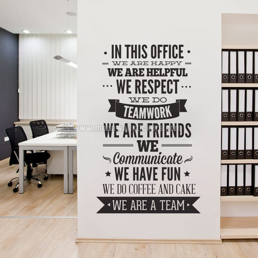 In this office typography sticker for Decoration bureau