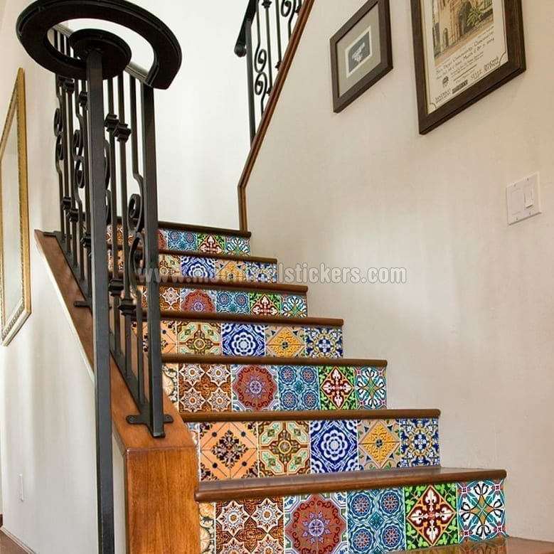 Staircase with Portuguese Tiles Patterns Pack N1