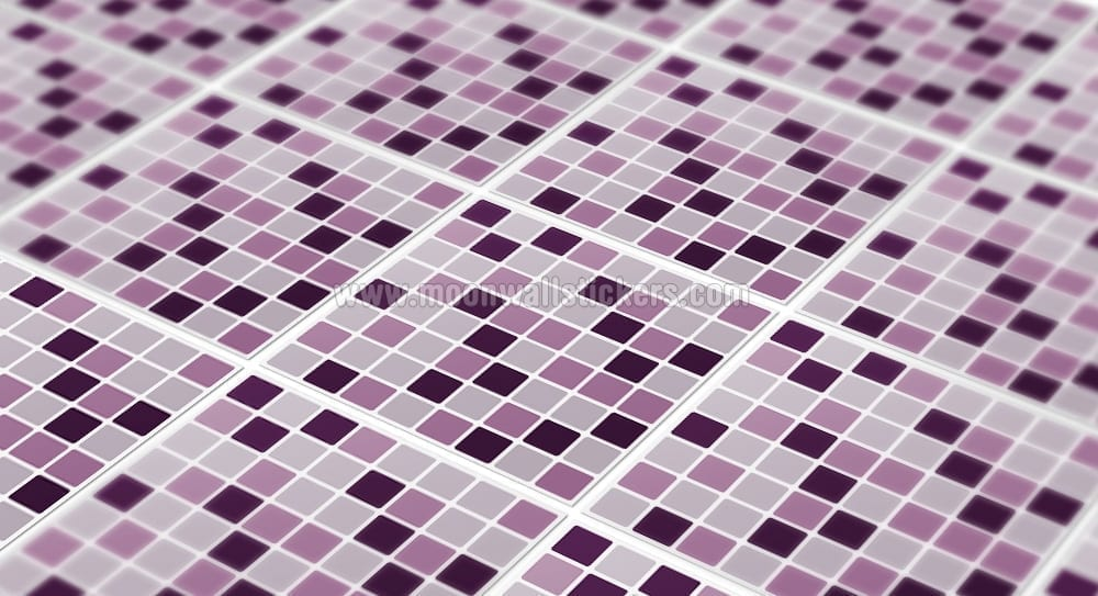 Mosaico lilla piastrelle adesivi set di moonwallstickers