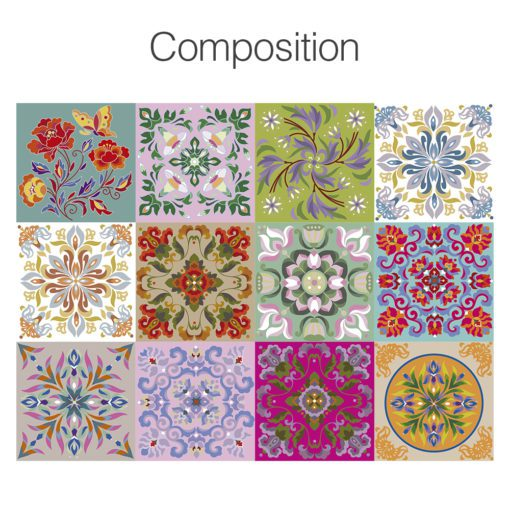 Tibetan Traditional Tiles Decals - Composition