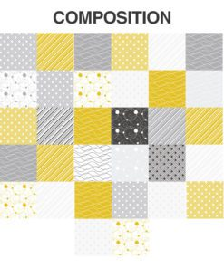 Tiles Stickers Yellow Gray - Composition