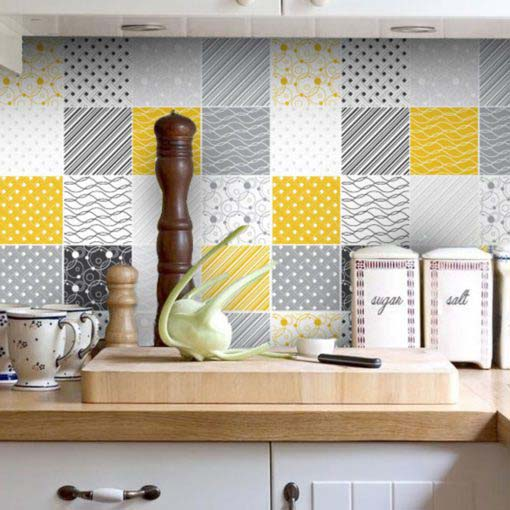 Tiles Stickers Yellow Gray - Wall