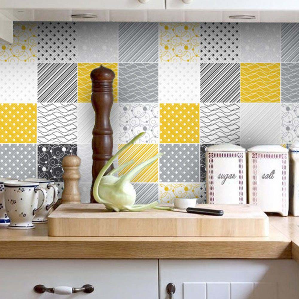 Yellow Tiles For Kitchen: Tiles Stickers Yellow Gray (Pack Of 32