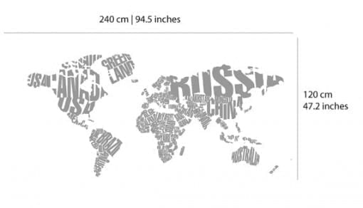 Typography World Map Country Names Dimensions