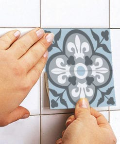 Vintage Blue Gray Floor Tile Decals - Apply