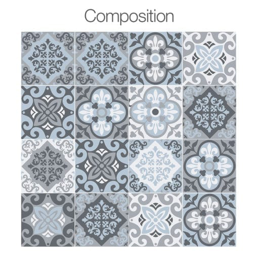 Vintage Blue Gray Floor Tile Decals - Composition