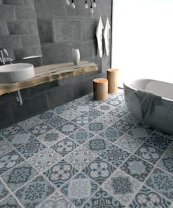 Vintage Blue Gray Floor Tile Decals - Floor