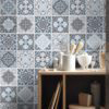 Vintage Blue Gray Floor Tile Decals - Wall
