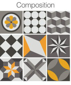 Vintage Geometric Tile Decals - Composition