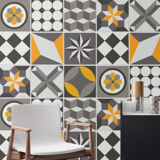 Vintage Geometric Tile Decals - Wall
