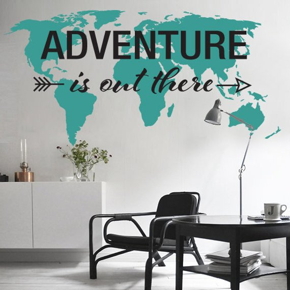 Adventure is Out There World Map Decal on map facebook covers, map wall mirror, map wall artwork, west point decal, diamond window decal, map wallpaper, wrench decal, map wall graphics, pirate life decal, map wall clock, trd hood decal, map paper, map united states football league, map wall mural, map your neighborhood, map with title, map shirt, nautical compass decal, wwp decal, map kashmir conflict,