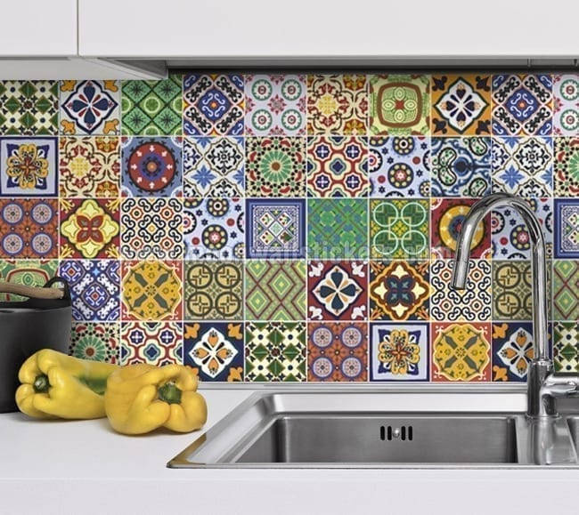 Charming Talavera Tile Decals Kitchen Backsplash