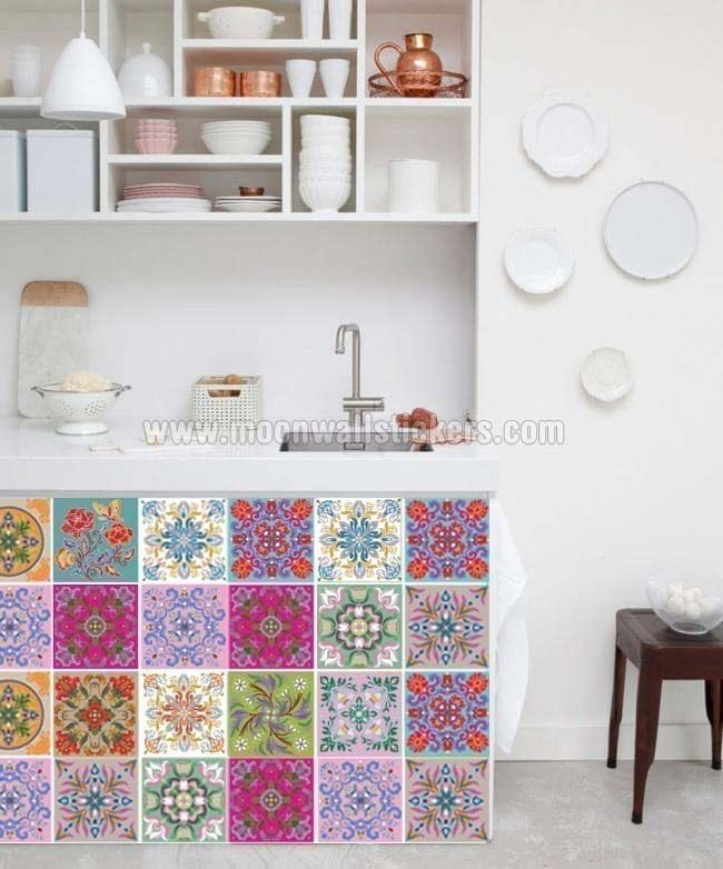 Tibetan traditional tiles decals - Smart tiles chez leroy merlin ...