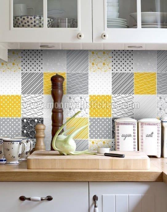 Vinyle d coratif pour carrelage jaune et gris - Vinilos para azulejos de cocina ...