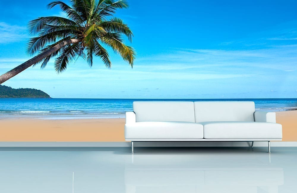 Beach Wall Mural Tropical Beach Wall Mural   Moonwallstickers Part 55