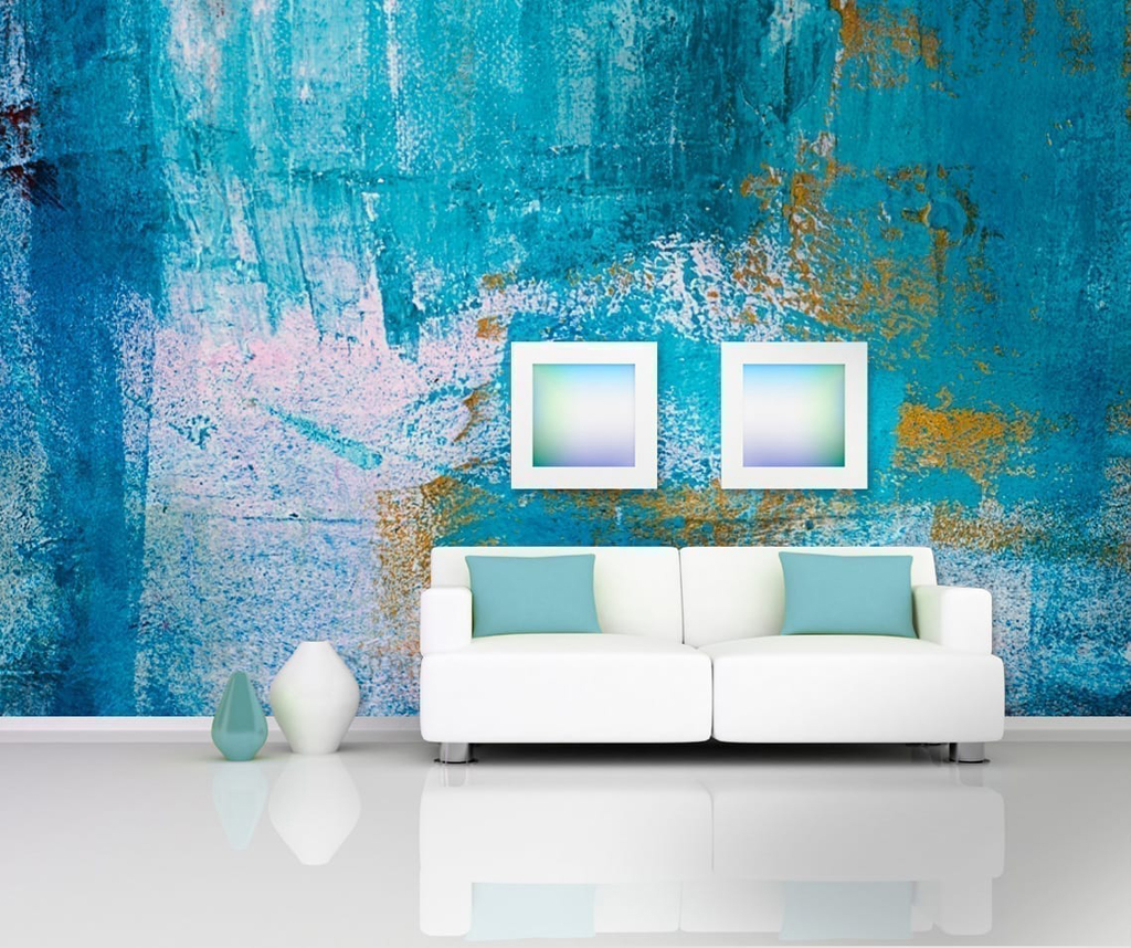 Urban Blue Art Wall Murals Moonwallstickers Com