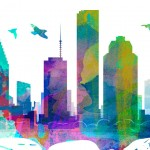 Houston Watercolor Skyline Sticker