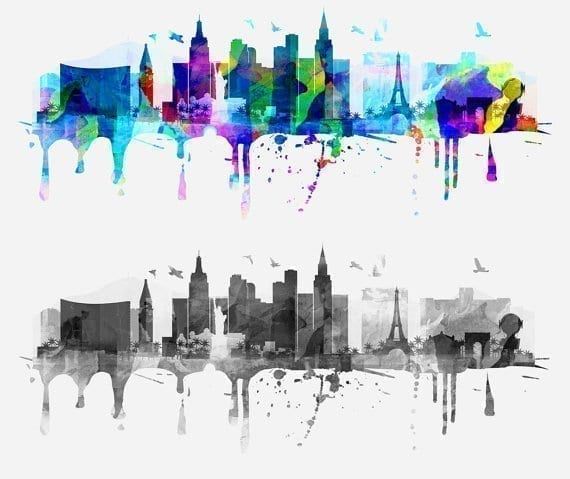Las vegas watercolor skyline sticker