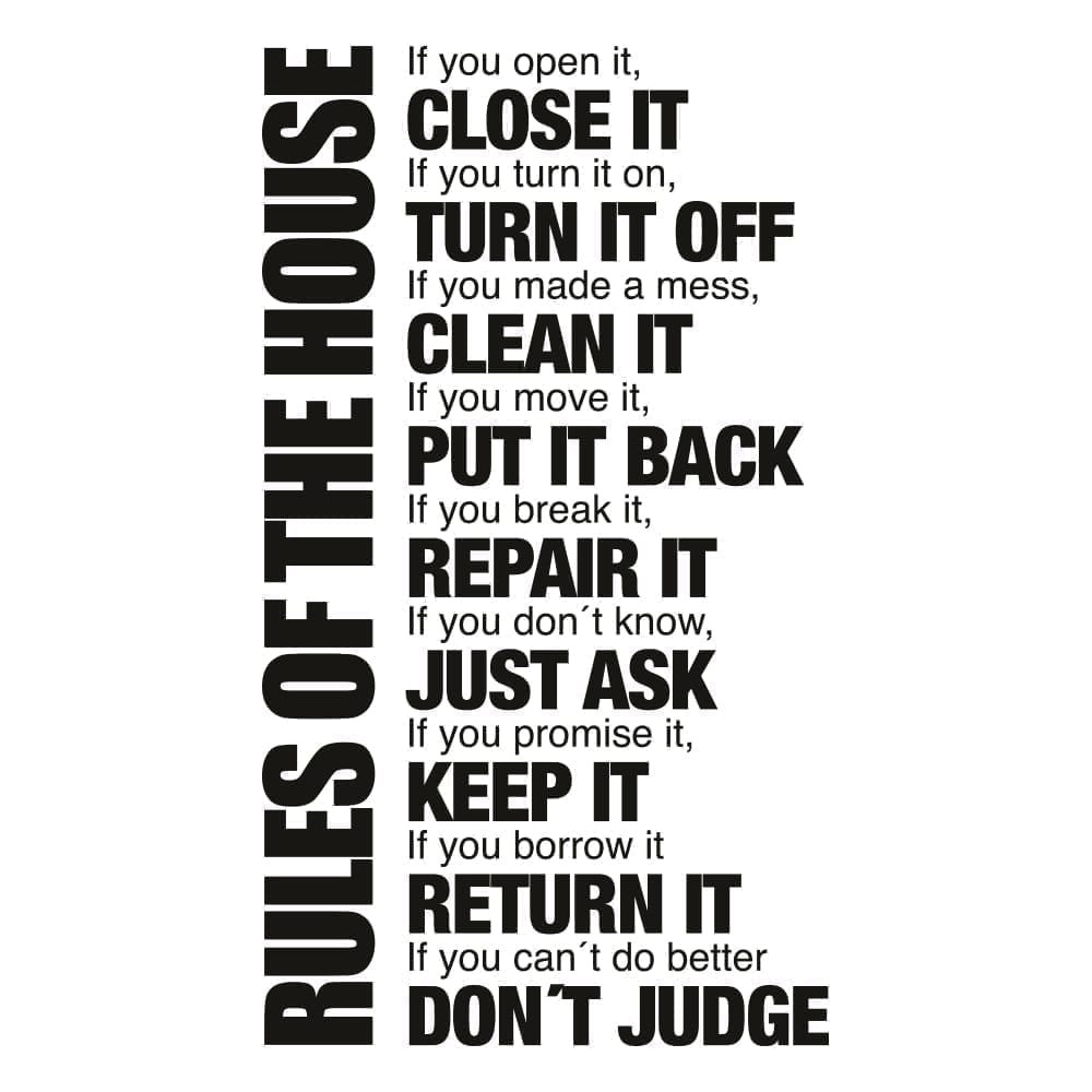 Beautiful House Rules Sticker   1