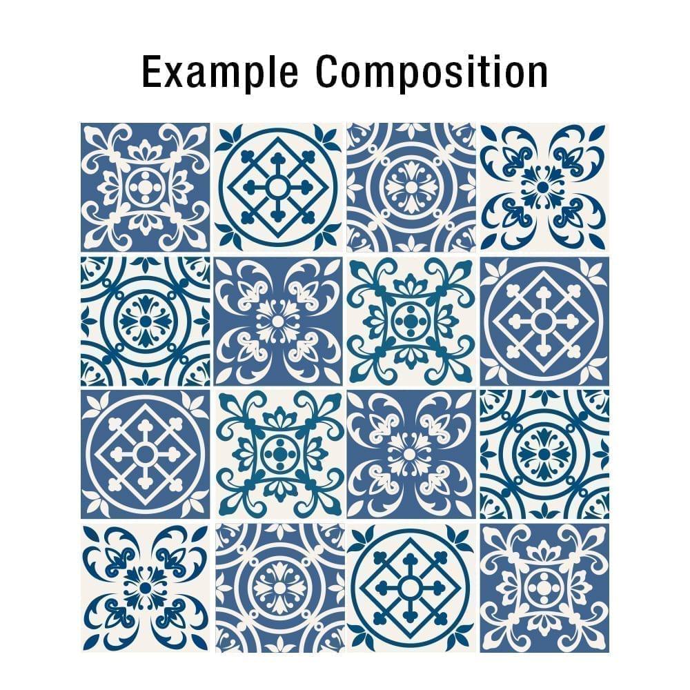 Azulejos espa oles tradicionales pegatinas azul caja de - Pegatinas para azulejos ...