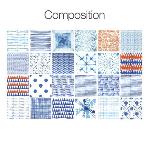 Shibori Watercolor Tile Decals - Composition