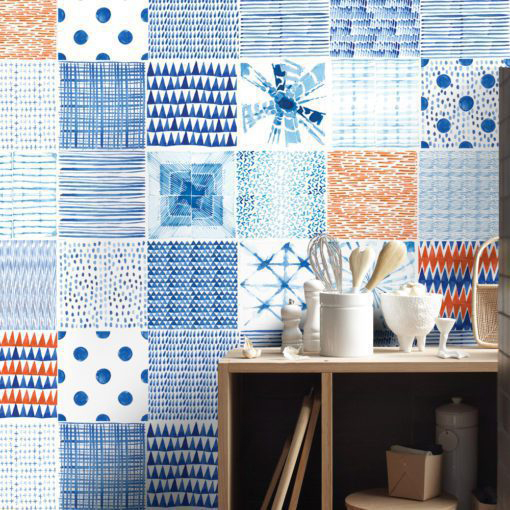 Shibori Watercolor Tile Decals - Wall