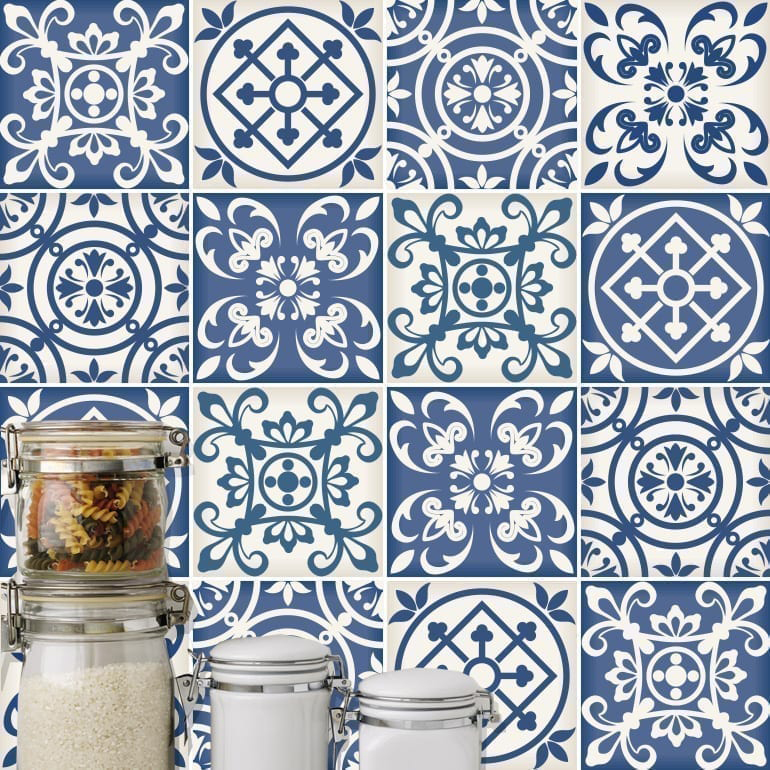 Traditional Spanish Blue Tiles Pack Of 32