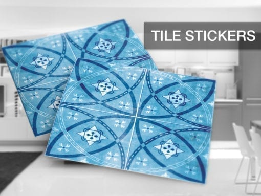 Vintage blu piastrelle adesivi set di moonwallstickers
