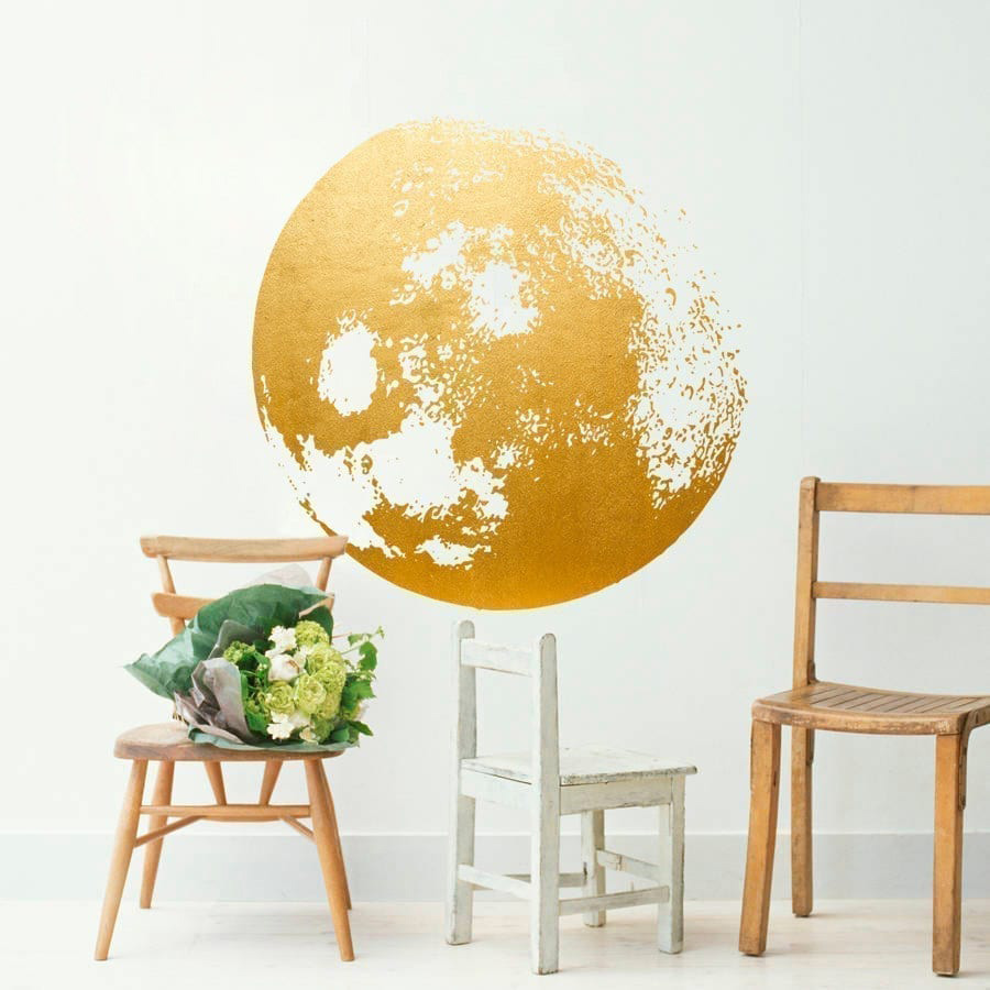 Charming Golden Moon Wall Decal